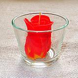 """Круглый стеклянный подсвечник в комплекте с восковой свечой """"Бутон коралловой розы"""", фото 5"""