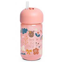 """Пляшка із трубочкою, """"Лісові історії""""/рожева"""