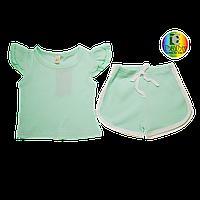 Набор (комплект) для девочки мятного цвета шорты и футболка PatPat
