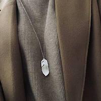 """Длинная женская цепочка на шею с подвеской """"Перо"""" колье и ожерелье серебристого цвета"""