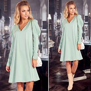 Фисташковое расклешенное платье (Код MF-238) S