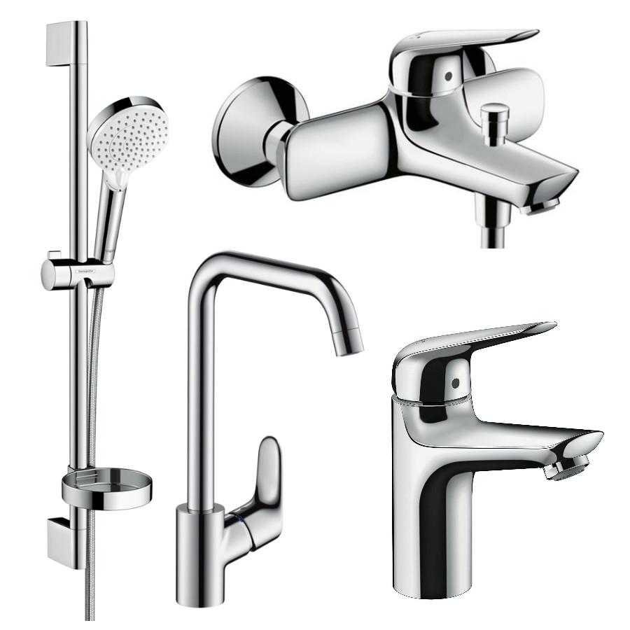 Набор смесителей HANSGROHE NOVUS для ванны, умывальник 100 + кухня (71030000+71040000+26553400+31820000)