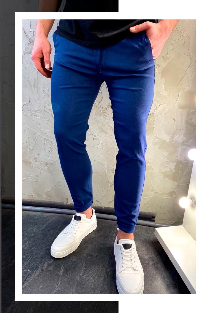 Мужские повседневные стильные синие штаны