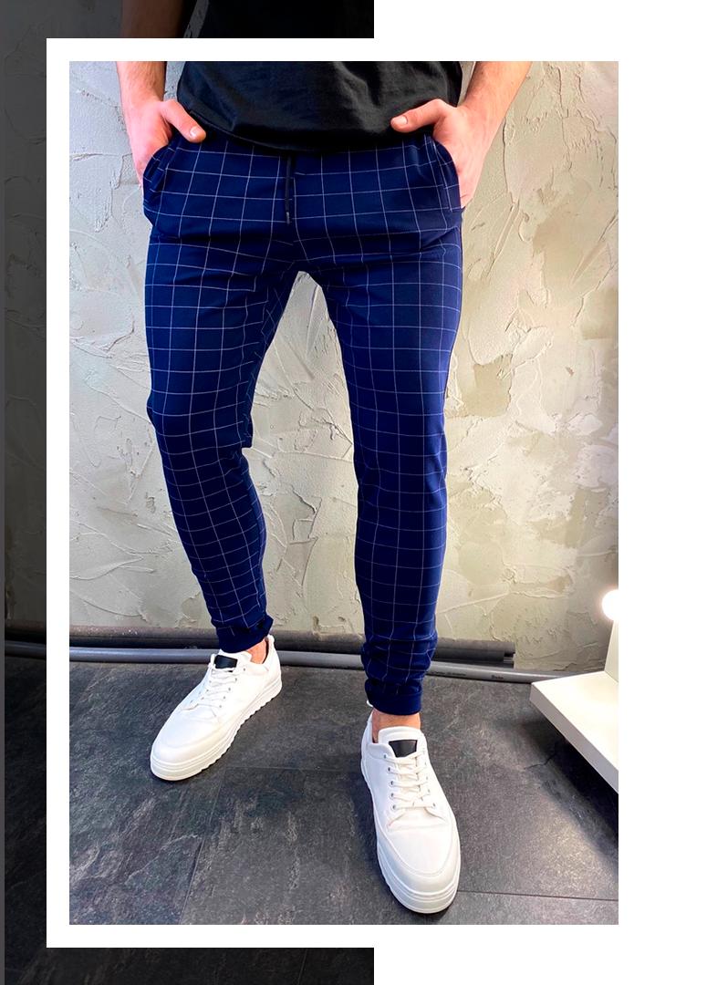 Чоловічі повсякденні стильні сині штани в клітку