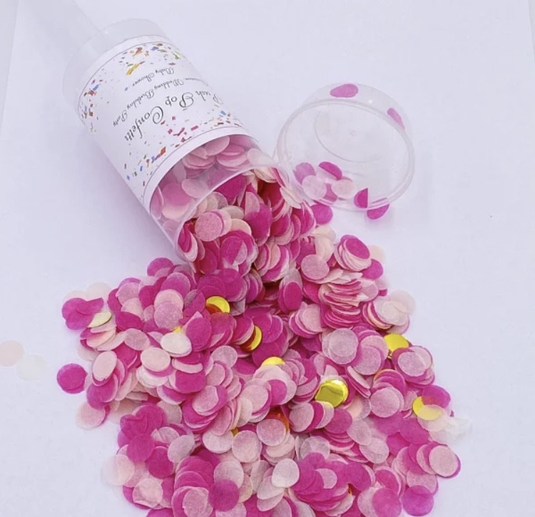 ПОППЕР С БУМАЖНЫМ КОНФЕТТИ PUSH POP многоразовые розовый