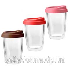201-4 Чашка з подвійною стінкою і силіконовій кришкою 350мл Take awa