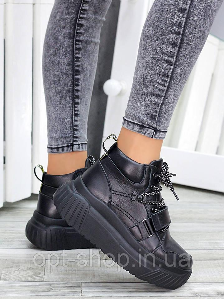 Ботинки женские демисезонные на платформе весенние белые черные на платформе толстой подошве (код:W-7464-чк)