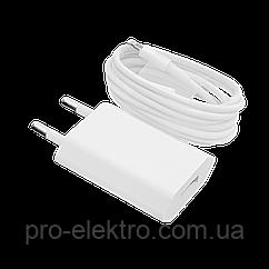 Зарядний пристрій LP АС-005 USB 5V 1A + кабель Lighting/OEM White