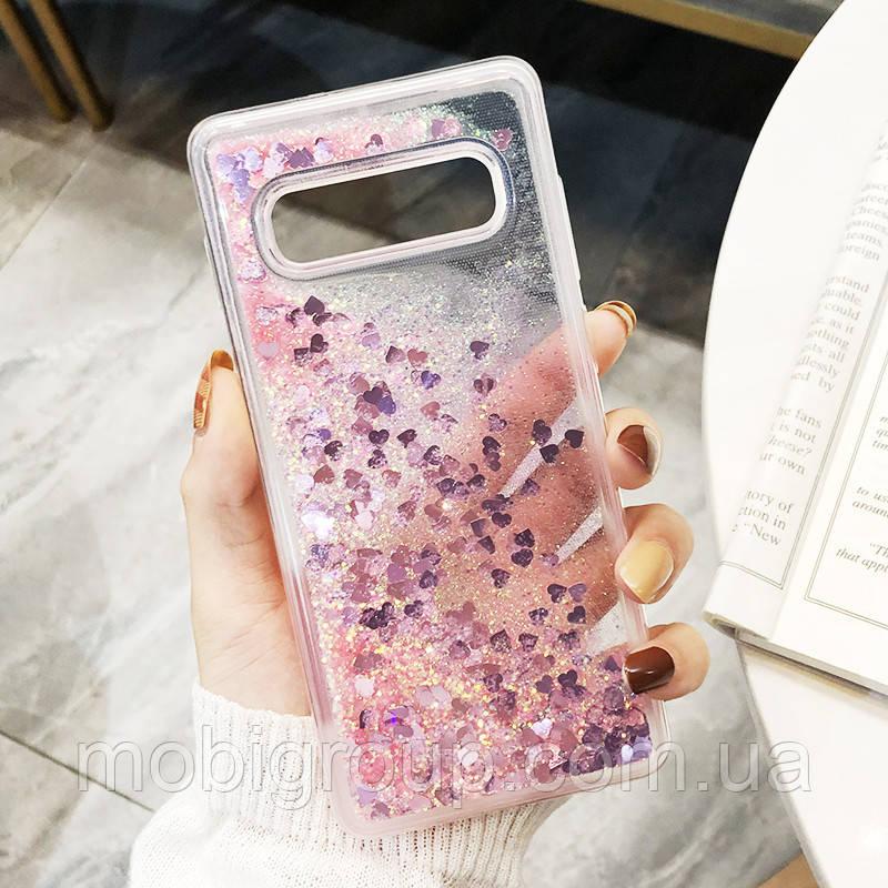 Чехол с сердечками и блестками в жидкости для Samsung Galaxy S10 Plus, Розовый