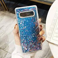 Чехол с сердечками и блестками в жидкости для Samsung Galaxy S10 Plus, Голубой