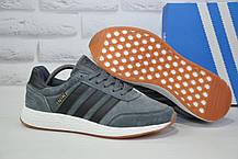 Кросівки чоловічі сірі нубук в стилі Adidas Iniki