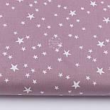Тканина бязь з білими зірками, колір фону ретро-рожевий (світлий колір), №3222, фото 2
