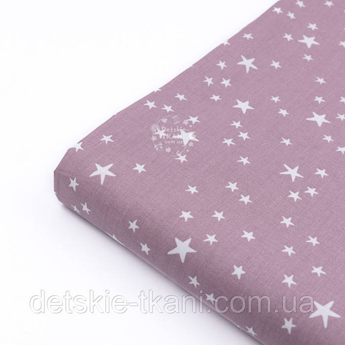Тканина бязь з білими зірками, колір фону ретро-рожевий (світлий колір), №3222