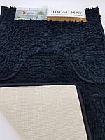 Набор ковриков в ванную комнату из микрофибры лапша ''ROOM MAT'' черный  60х90см. и туалет 40х60см.