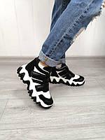 Жіночі стильні кросівки на липучках з натуральної шкіри