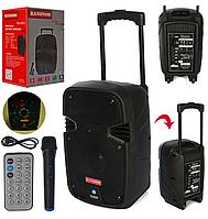 Портативная аккумуляторная Bluetooth (блютуз) колонка-чемодан на колесах с ручкой и микрофоном