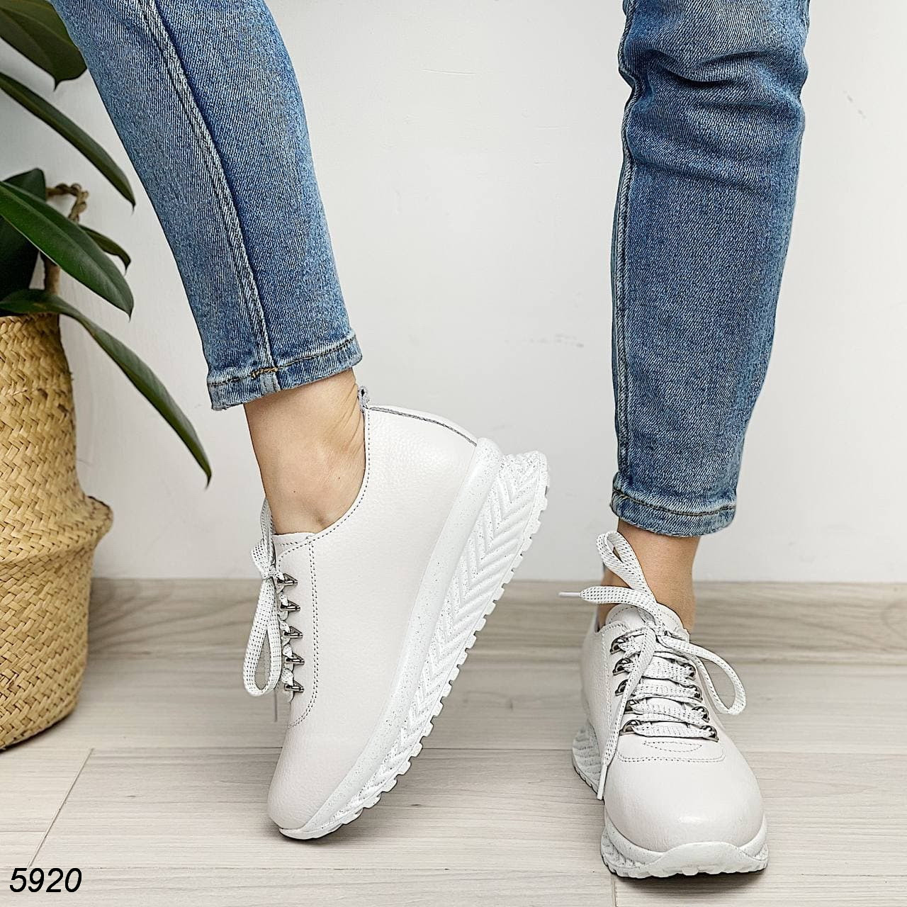 Женские белые кроссовки, натуральная кожа