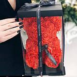 Ведмедик Тедді з 3D троянд Ведмедик з троянд 25 см червоний в оригінальній упаковці Подарунковий Ведмедик з, фото 7