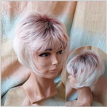 Парик боб-каре из канекалона снежный блонд омбре бордо AGATA-YS33/1601F