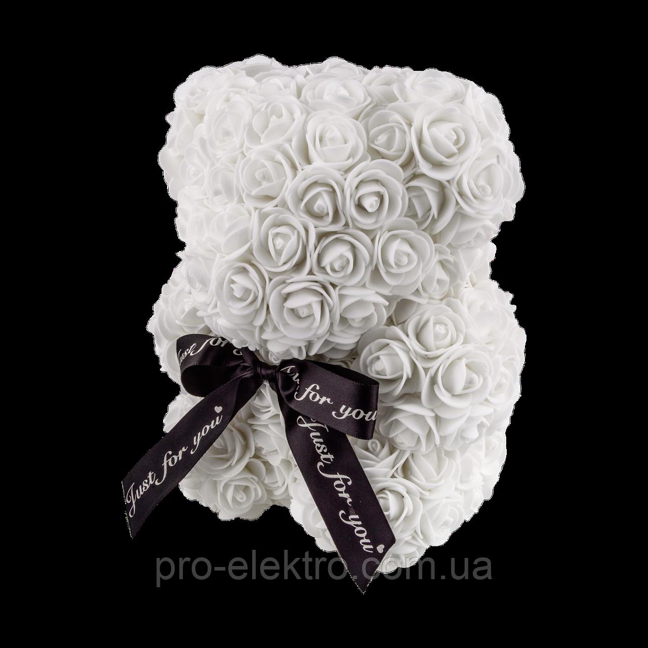 Мишко з 3D троянд 25 см білий