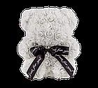 Мишко з 3D троянд 25 см білий, фото 2
