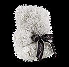 Мишко з 3D троянд 25 см білий, фото 3