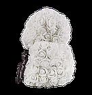 Мишко з 3D троянд 25 см білий, фото 4