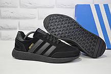 Кросівки чоловічі чорні замшеві в стилі Adidas Iniki