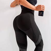 Лосины женские спортивные с высокой талией черные | леггинсы женские для йоги и фитнеса для спорта р.S M L