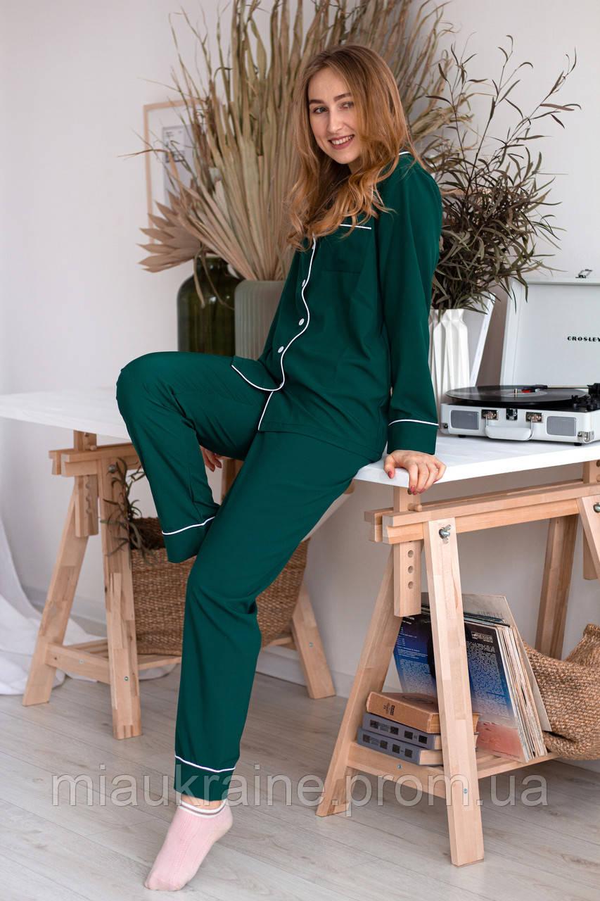 Пижама женская из софта с кантом зеленая
