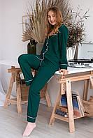 Пижама женская из софта с кантом зеленая, фото 1