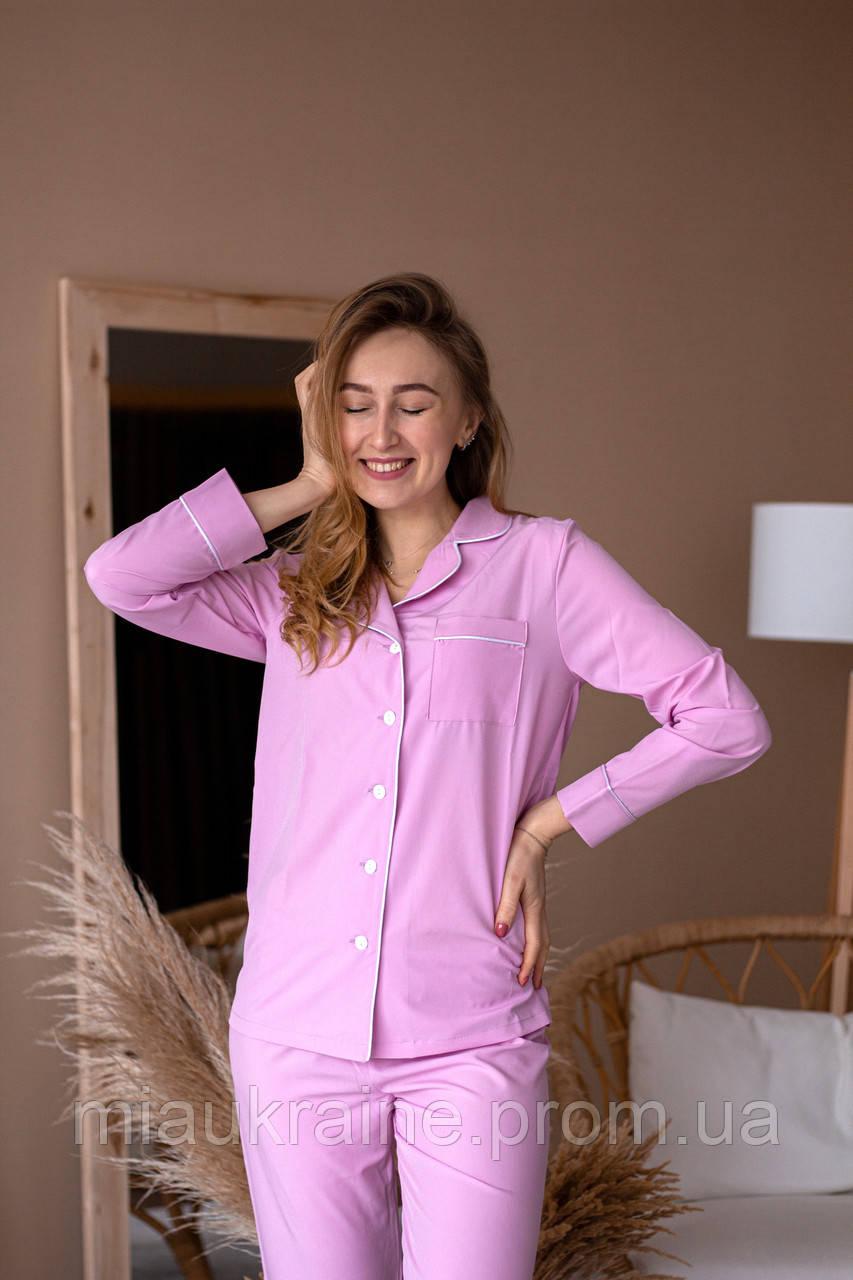 Пижама женская из софта с кантом розовая