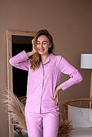 Пижама женская из софта с кантом розовая, фото 1
