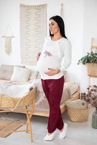 """Пижама для будущих и кормящих мам кофта со штанами """"Стрекоза - бордо"""" р.44-52"""