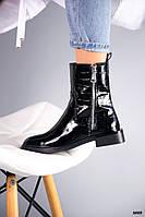 36 р. Черевики жіночі демі чорні лакові на низькому ходу низький хід демісезонні з натурального лаку, фото 1