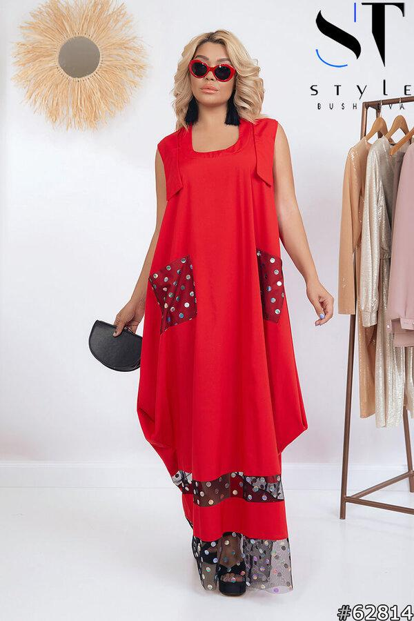Літній жіноче плаття червоний | р-р 52-54, 56-58, 60-62