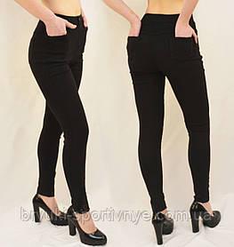 Женские стрейчевые джинсы скинни Размеры: M, L, XL, 2XL Джеггинсы с ажурными вставками Ласточка (Черный, М)