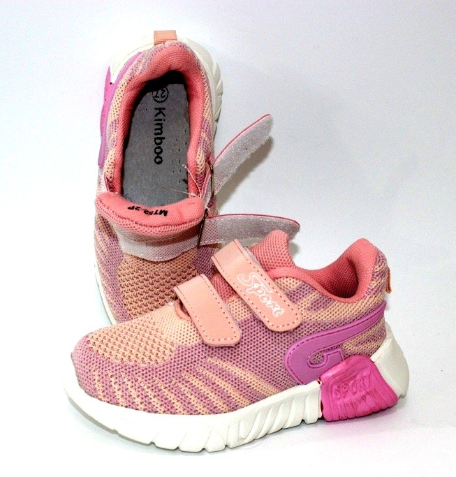 Летние детские кроссовки розовые на липучке