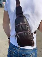 Мужская кожаная сумка-мессенджер Tiding Bag M3-810A коричневая, фото 1