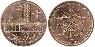 Франция 10 франков  (1974-1987 год) Башни линии электропередач / Стилизованная карта