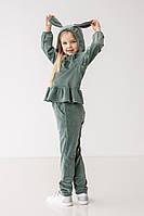Стильный спортивный костюм для девочки, теплый, 98-116