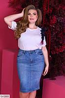 Джинсовая юбка женская красивая приталенная по колено больших размеров 50-60 арт 1041/787