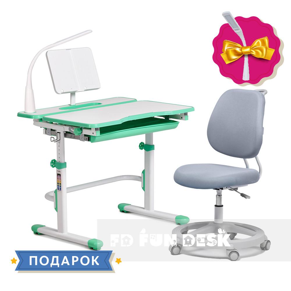 Комплект растущая парта Cubby Fressia Green+эргономичное кресло FunDesk Pratico Grey