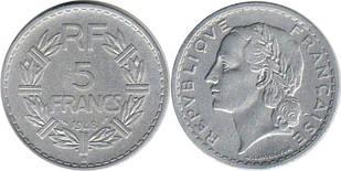 Франция 5 франков (1945-1952) алюминий