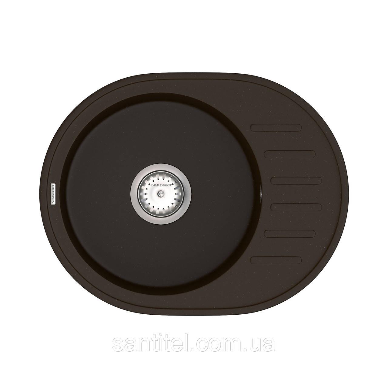 Кухонна мийка VANKOR Lira LMO 02.57 Chocolate + сифон VANKOR