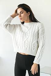 Укороченный женский свитер фактурной вязки. Пряжа. Цвет белый. Размер S, M, L