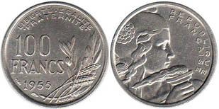 Франция 100 франков 1955 (1954-1958) медно-никелевый сплав