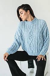 Укороченный женский свитер фактурной вязки. Пряжа. Цвет голубой. Размер S, M, L