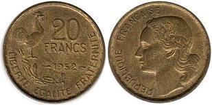 Франция 20 франков 1952 (1950-1953) алюминиевая бронза