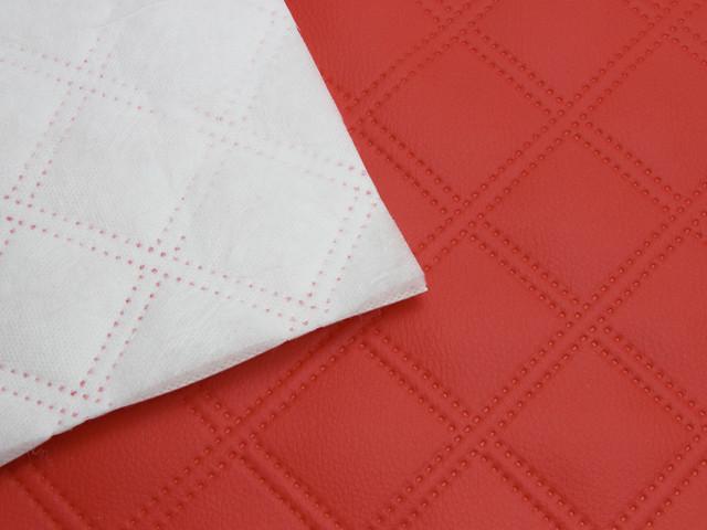 Кожзам термо стёганый красный «Двойна строчка» дублированный синтепоном и флизелином шир. 1,45м
